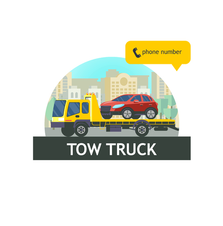 Tow truck for transportation faulty cars. The evacuation of the car. Vector illustration, logo. 版權商用圖片 - 84955037