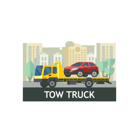 Tow truck for transportation faulty cars. The evacuation of the car. Vector illustration.