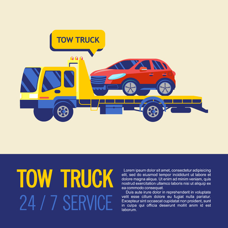 Tow truck for transportation faulty cars. Towing services 24 hours 7 days a week. Vector illustration with place for text. 向量圖像