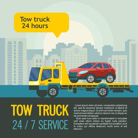 Sleepwagen voor transport van defecte auto's. Vectorillustratie met plaats voor tekst. Evacuatie van auto's in de stad 24 uur 7 dagen per week. Stock Illustratie