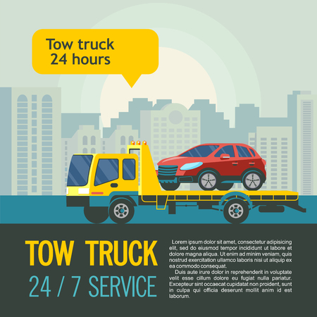 Tow truck for transportation faulty cars. Vector illustration with place for text. Evacuation of cars in the city 24 hours 7 days a week. Illustration