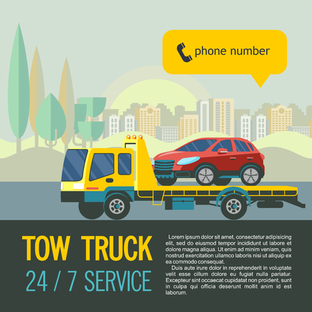 Tow truck for transportation faulty cars. Vector illustration with place for text. The evacuation of the car in the city.