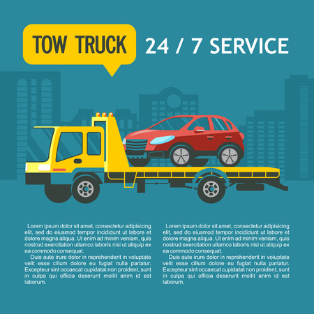 Tow truck for transportation faulty cars. Vector illustration with place for text. Towing services 24 hours 7 days a week.