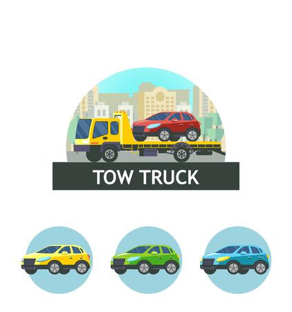 Carro attrezzi per il trasporto di auto difettose. Illustrazione vettoriale, logo, icona. L'evacuazione dell'auto. Archivio Fotografico - 84955043