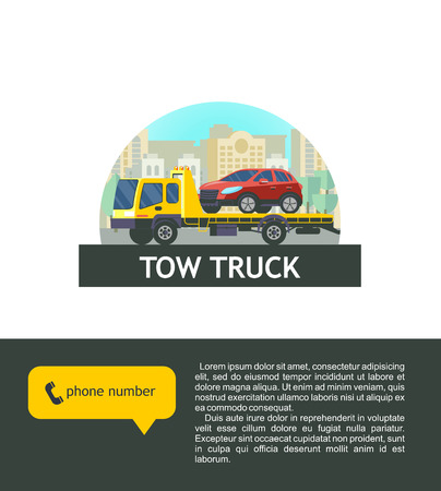 Tow truck for transportation faulty cars. Vector illustration, logo. The evacuation of the car. 版權商用圖片 - 84955044