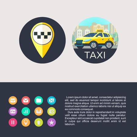 ベクトルのアイコンはタクシー サービスです。タクシー サービス。背景の高層ビルに黄色のタクシー車。アイコン モバイル アプリのタクシー サー
