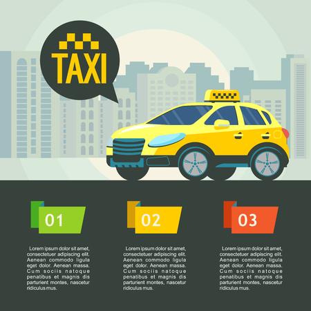 タクシー サービスのベクター イラストです。タクシー サービス。背景の高層ビルに黄色のタクシー車。