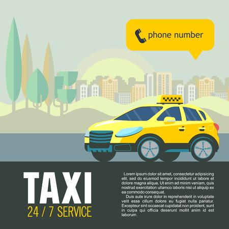 タクシー サービスのベクター イラストです。背景の高層ビルに黄色のタクシー車。