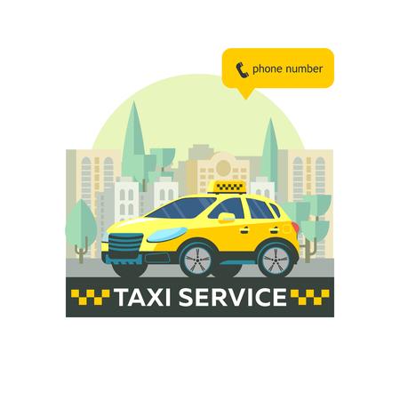 タクシーのサービスのベクトルのロゴ。タクシー サービス。背景の高層ビルに黄色のタクシー車。  イラスト・ベクター素材
