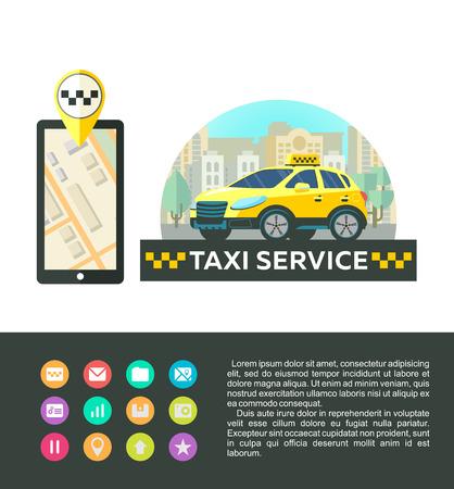 Vector logo, logo taxi service. Mobile app taxi. Taxi service. Set of icons for mobile app.