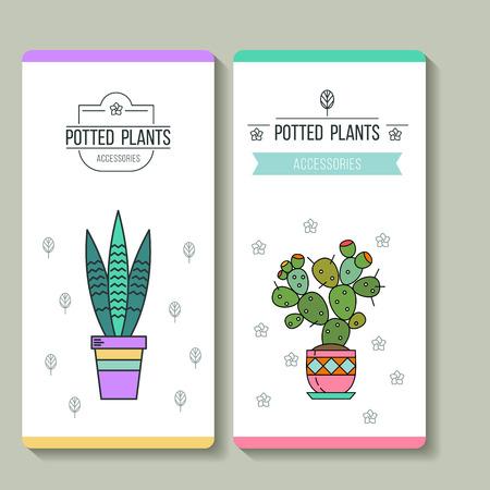 鉢植えの植物。ビジネス カード。フラワー ショップ。ベクトルの図。白い背景上に分離。  イラスト・ベクター素材