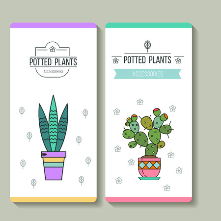 Potted plants. Business cards. Flower shop. Vector illustration. Isolated on white background. Illustration