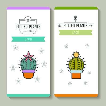 鉢植えの植物。ビジネス カード。ベクトルの図。フラワー ショップ。白い背景上に分離。