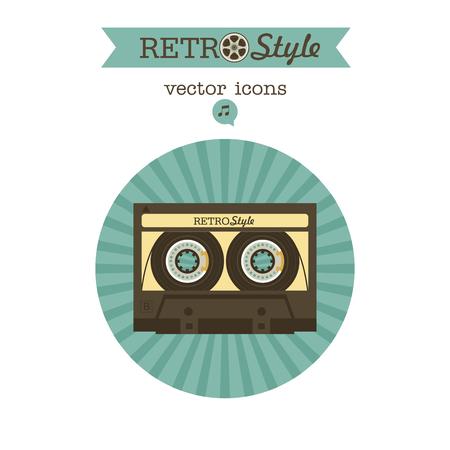 Cassette tape. Vector vintage icon logo.