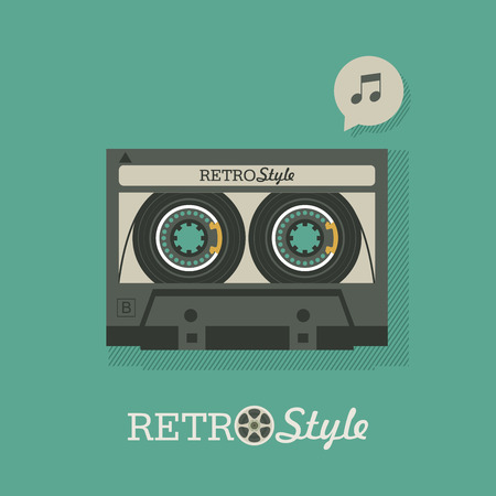 Cassette tape. Vintage logo, emblem. Vector illustration in retro style.