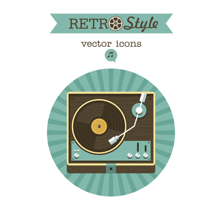 Player for vinyl records. Vector emblem. Logo in retro style.