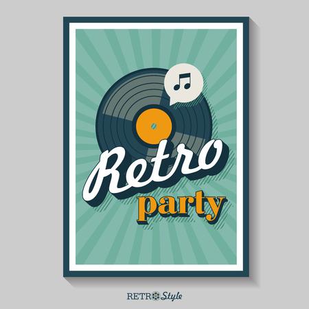 Retro party. Vector poster. The vinyl record. Vector emblem. Logo in retro style.