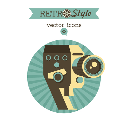 Vintage camera. Vector logo, icon.
