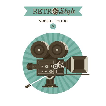 ビンテージ フィルム カメラ。ベクトル紋章。ロゴ。  イラスト・ベクター素材