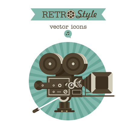 Vintage film camera. Vector emblem. Logo. 矢量图像