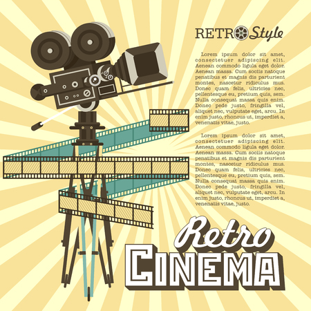 Vintage film camera. Vector poster retro movie theater with place for text. Vintage film reel, vector logo.