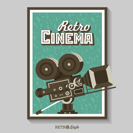 Vintage film camera. Vector poster retro movie theater. Vector illustration. Ilustrace