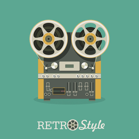 Vintage reel to reel tape recorder.  Vector illustration in retro style.