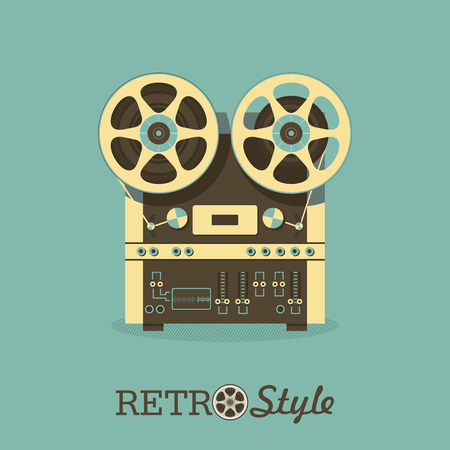Vintage reel to reel tape recorder. Illustration in retro style. Иллюстрация
