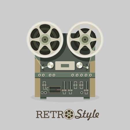 Vintage reel to reel tape recorder. Vector illustration in retro style. Logo, icon.