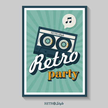 Retro music. Poster for a retro party. Cassette tape. Vector vintage icon logo.
