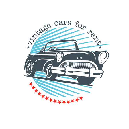 Vintage car. Vector sign logo. Retro cars for rent. Ilustracja