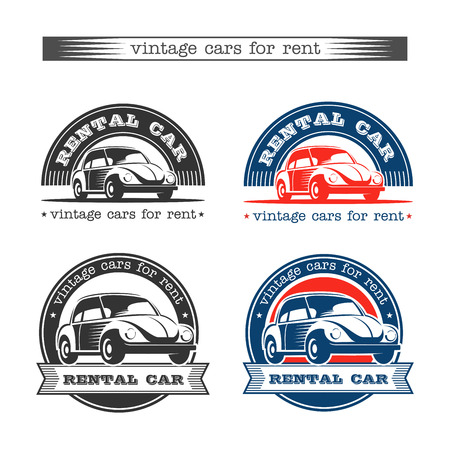 Vintage cars for rent. Isolated on white background. Vector set of logos.