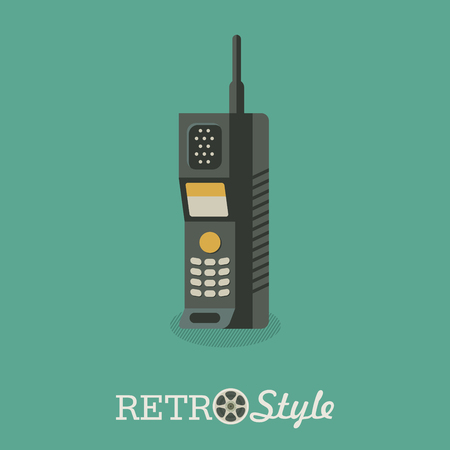 The radiotelephone. An outdated model. Handset. Vector illustration.