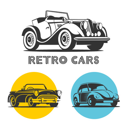garage: Retro cars. Set of vector logos, icons. Isolated on a white background. Illustration