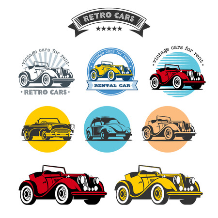 Retro cars. Set of vector logos, icons. Vintage cars for rent.