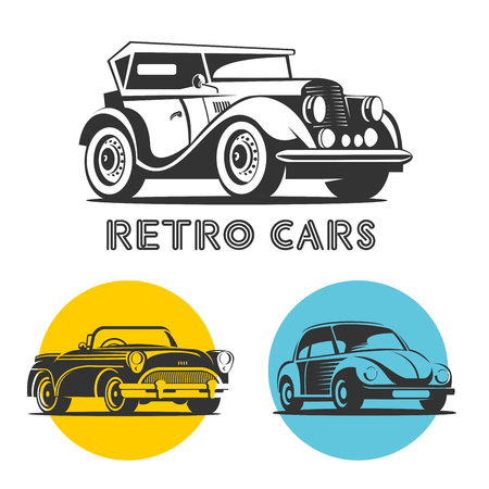 Retro cars. Set of vector logos, icons. Ilustracja