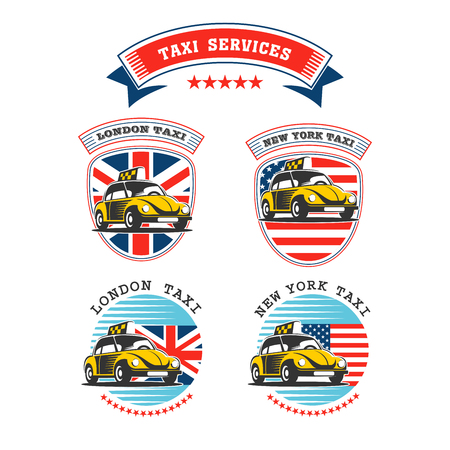 Set of vector logos of taxi service. Taxi in London and New York.