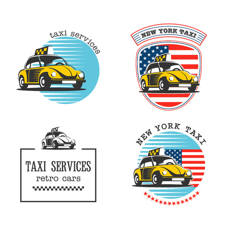 Taxi in new York. Taxi service. Vector set of logos. Yellow taxi car on an American flag background. Illustration