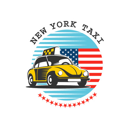 Taxi New York. Yellow taxis in the background of the American star spangled banner. Vector logo. Isolated on a white background.