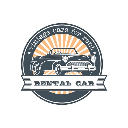 Vintage car rental. Vector logo, emblem. Ilustração