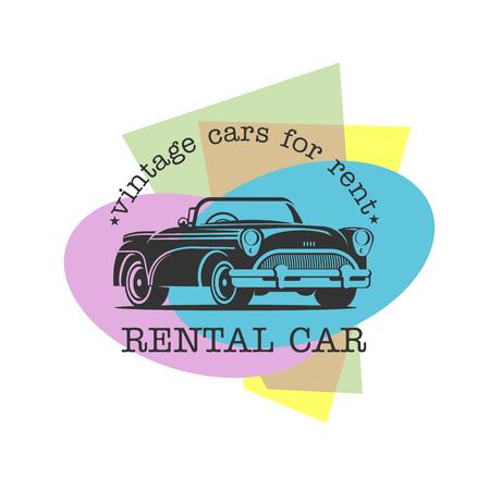 Vintage car rental. Vector monochrome logo on a colored background. Logo for car shop, car rental. Ilustrace