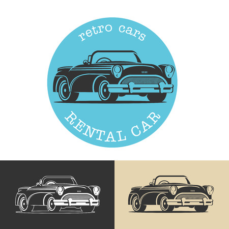 car isolated: Vintage car. Black vector sign, logo, retro cars for rent.