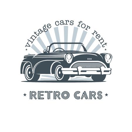 Vintage auto. Verkoop, verhuur van vintage auto's. Monochroom vector logo.