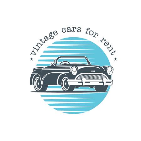 Vintage car. Vector badge, logo, retro cars for rent. Illusztráció