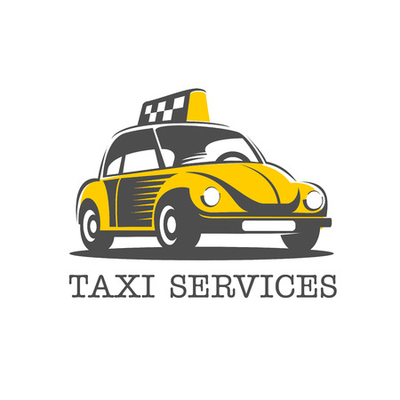 A yellow taxi. Vector logo. Isolated on a white background. Иллюстрация