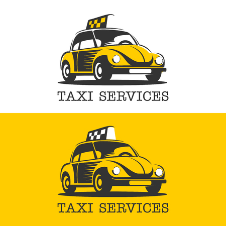 A yellow taxi. Vector logo. Taxi service. Isolated on a white background.