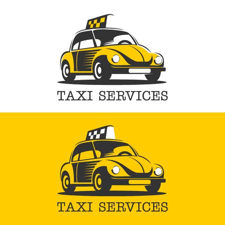 Ein gelbes Taxi . Vektor-Logo . Taxi-Service . Isoliert auf weißem Hintergrund Logo