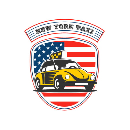 New York taxi. Vector logo. Yellow taxi car on an American flag background. Illustration