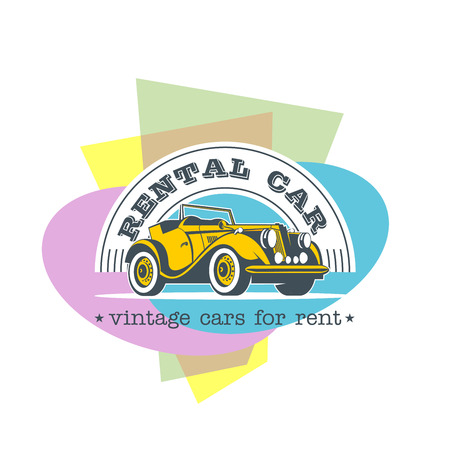 Rental of vintage cars. Vector logo. Vintage yellow convertible car on a colorful background.
