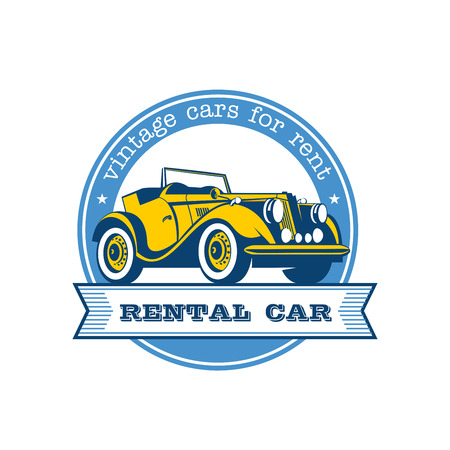 garage: Rental of vintage cars. Vector logo. Yellow vintage convertible.